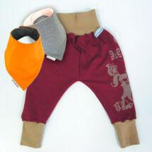 MAGYARINDA® - Babanadrág babahordozáshoz + 2 babasál SZETT   drapp-bordó   több méretben