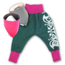 Magyarinda® - Babanadrág babahordozáshoz + 2 babasál SZETT | Pink-szürke | 1-es méretben