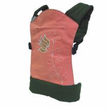 MAGYARINDA® - Játék csatos kölyökhordozó - olíva rózsaszín matyó tulipános