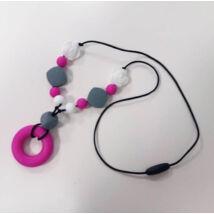 Szilikon rágóka  - Pink karikás nyaklánc