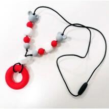 Szilikon rágóka  - Piros karikás nyaklánc