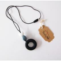 Szilikon nyaklánc - Fekete gyűrű