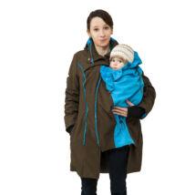 MAGYARINDA® - Hordozós kabát bővítő betéttel - BÉLELT Softshell - BARNA-TÜRKIZ