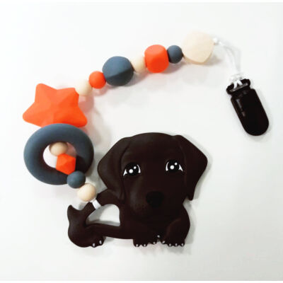 kutyus nusky toys barna szilikon rágcsalánc
