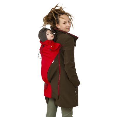 MAGYARINDA® - Hordozós kabát bővítő betéttel - BÉLELT Softshell - BARNA-PIROS