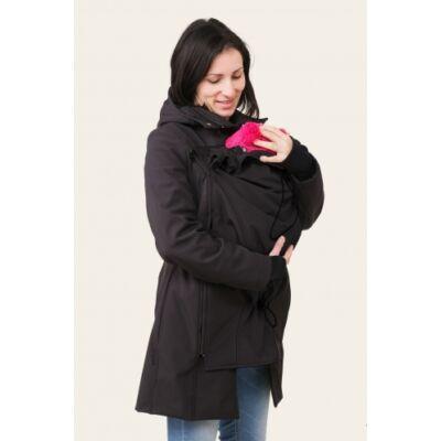 MAGYARINDA® - Hordozós kabát bővítő betéttel - BÉLELT Softshell - HOLLÓ FEKETE