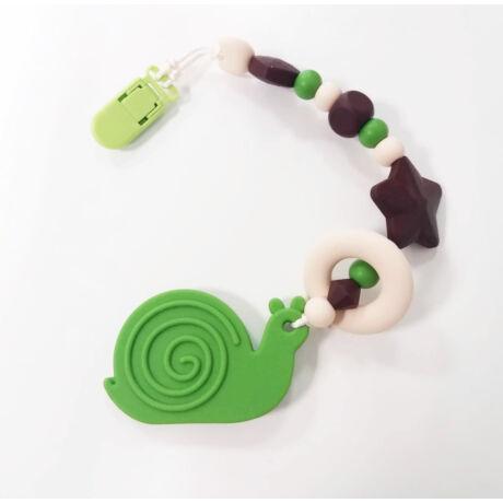 csiga nusky toys zöld szilikon rágcsalánc