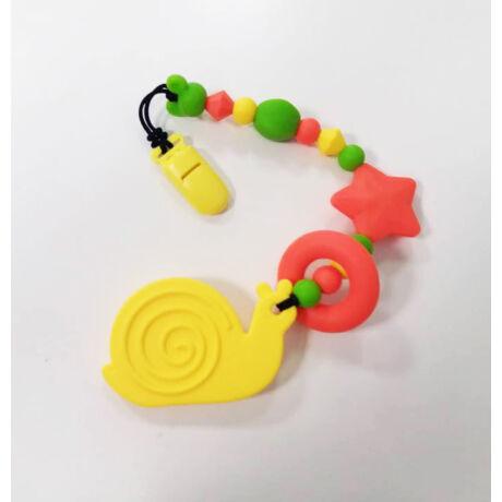 csiga nusky toys sárga szilikon rágcsalánc