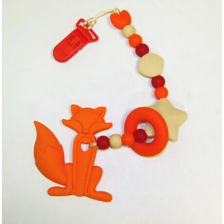 róka nusky toys narancs piros szilikon rágcsalánc