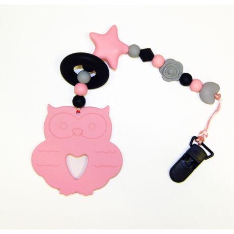 bagoly nusky toys rózsaszín szilikon rágcsalánc
